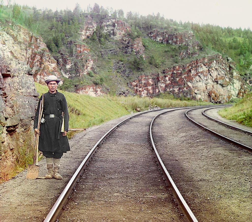 Усть-Катав фото города: Башкир-стрелочник в Усть-Катаве 1910 год, Прокудин-Горский